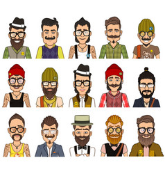 set avatars hipsters vector image