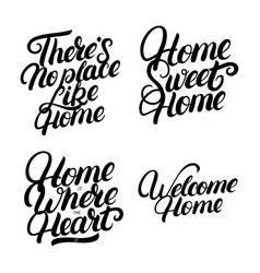 set of hand written lettering for home vector image