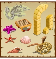 Set of sea creatures antique items and skeleton vector