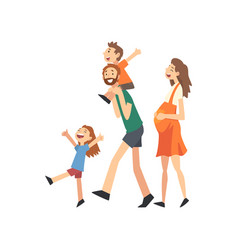 smiling pregnant mother father and kids happy vector image