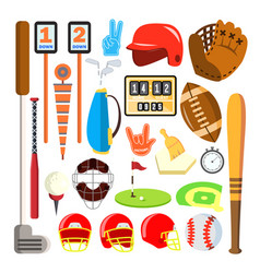 sport icons baseball golf american vector image