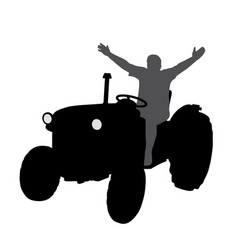 Successful happy farmer on tractor with hands up vector