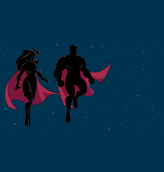 superhero couple flying in space silhouette vector image
