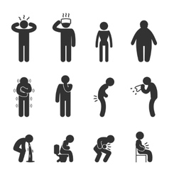 Symptoms of people disease icons Sick and ill vector image