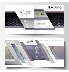Templates for square design bi fold brochure vector