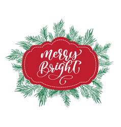 text merry bright on a red tag on the background vector image