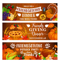Thanksgiving dinner or friendsgiving potluck party vector