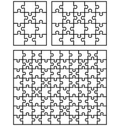 Three white puzzles vector