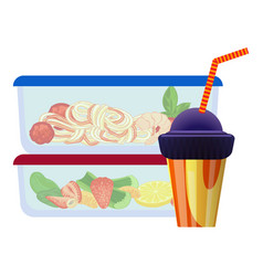 Transparent lunchbox icon cartoon style vector