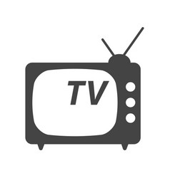 tv icon in flat style isolated on white vector image