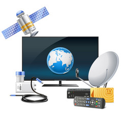 tv with satellite equipment vector image