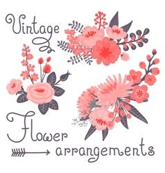 Vintage flowers cute flower for design vector