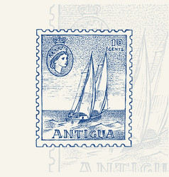 vintage postage stamp for album seascape with a vector image