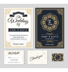 Vintage wedding invitation Mehndi mandala design vector