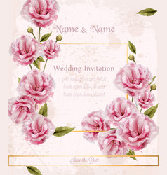 watercolor pink wild roses card beautiful vector image