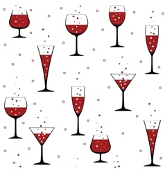 wine glasses on white vector image