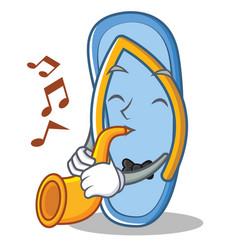 With trumpet flip flops character cartoon vector