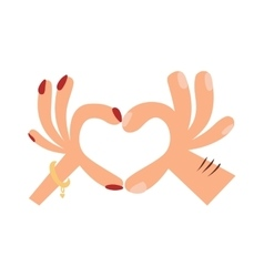 Woman hands making a heart shape sign cartoon flat vector