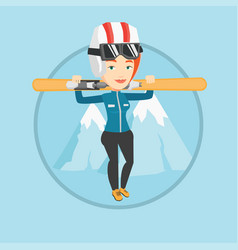 woman holding skis vector image