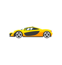 Yellow sports racing car supercar side view vector