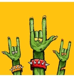 Zombie hand shows rock n roll gesture vector