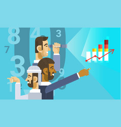 arab business man group showing finance chart vector image vector image