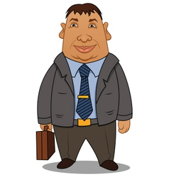 fat businessman with a case vector image