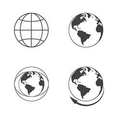 Globe earth icons set on white background vector image