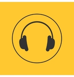 Headphones with round line circle Music card vector image