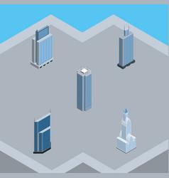 Isometric skyscraper set of business center urban vector