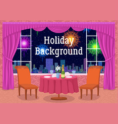 restaurant and fireworks in window vector image vector image