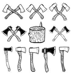 set of the wood cuts lumberjack axes design vector image
