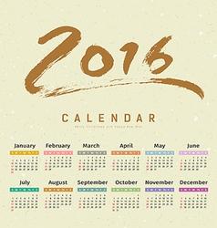 Calendar 2016 text paint brush vector image vector image