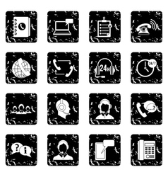 Call center symbols icons set vector image vector image