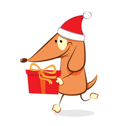 Funny dog carrying a christmas present vector