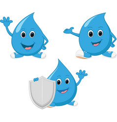 happy water drop cartoon vector image