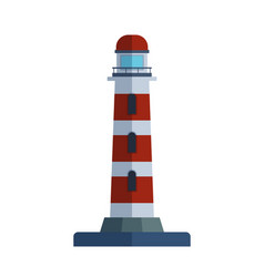 Cartoon flat lighthouse searchlight tower for vector