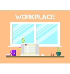 Flat style workspace icons design Workplace and vector image