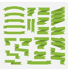 Green ribbons set isolated on white background vector image vector image