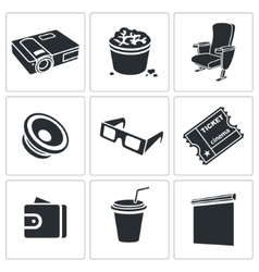 Hiking in the cinema Icons Set vector image vector image