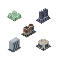 isometric construction set of company house vector image