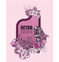 retro music frame with microphone vector image vector image