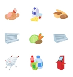 Buying products in store icons set cartoon style vector