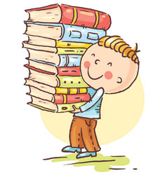 little boy is carrying a big pile of books vector image vector image