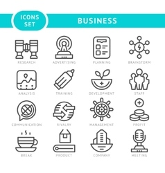 Set line icons of business vector