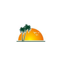 sunset beach palm tree tropic logo vector image vector image