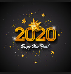 2020 happy new year with 3d gold vector image