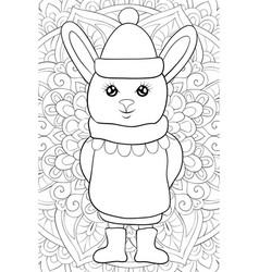adult coloring bookpage a cute cartoon rabbit vector image