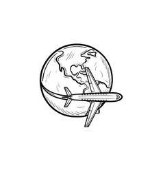 Airplane flying around the world hand drawn vector