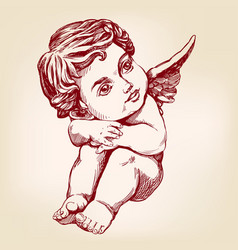 Angel or cupid little baby greeting card hand vector